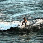 Surfer On Wave Art Print