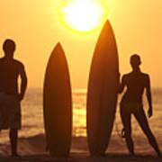Surfer Silhouettes Art Print