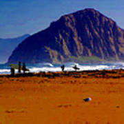 Surfers On Morro Rock Beach Art Print