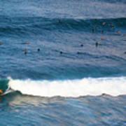 Surfing At Honolua Bay Art Print