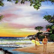 Surfing In Rincon Art Print