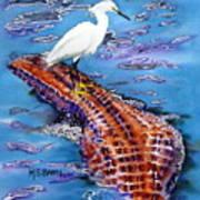 Surfing The Gator Art Print