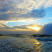 St. Augustine Beach Sunrise Surf Art Print