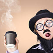 Surprised Business Person High On Coffee Art Print