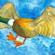 Surprised Flying Duck Detail Of Duck Meets Fairy Ballet Class Art Print