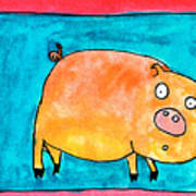 Surprised Pig Art Print