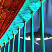 Surreal Bridge Shark Cage Art Print
