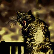 Surreal Cat Yawn Art Print