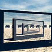 Surreal Elephant Desert Scene Art Print