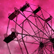 Surreal Fantasy Dark Pink Ferris Wheel Carnival Ride Starry Night - Pink Ferris Wheel Home Decor Art Print