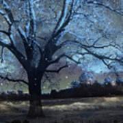 Surreal Fantasy Fairytale Blue Starry Trees Landscape - Fantasy Nature Trees Starlit Night Wall Art Art Print