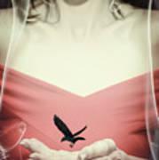 Surreal Image Of Woman With Bird Art Print