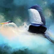 Surreal Stork In A Storm Art Print