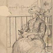 Susan On A Balcony Holding A Dog [recto] Art Print