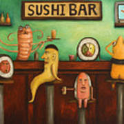 Sushi Bar Darker Tone Image Art Print