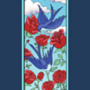 Swallows And Roses Art Print
