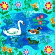 Swan And Two Ducks Print by Sushila Burgess