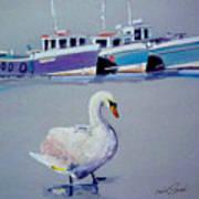 Swan Lake With Pleasure Boats Art Print