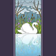 Swan On The River Art Print