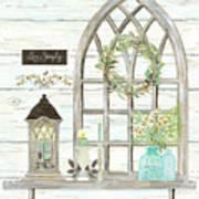 Sweet Life Farmhouse 3 Gothic Window Lantern Floral Shiplap Wood Art Print