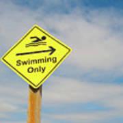 Swimming Sign Art Print