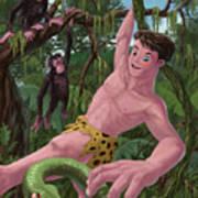 Swinging Boy Tarzan Art Print