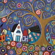 Swirl Tree Village Art Print