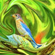 Swirling Bluebird Abstract Art Print