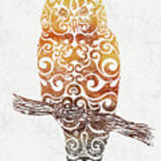 Swirly Owl Art Print