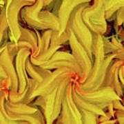 Swirly, Yellow Leaves Art Print
