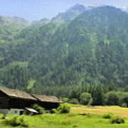 Swiss Mountain Home Print by Jeff Kolker
