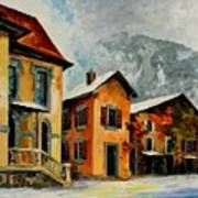 Switzerland - Town In The Alps Art Print