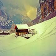 Switzerland Alps Grutschap Alpine Meadow Winter  Art Print