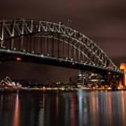 Sydney Harbor At Night With Train Art Print