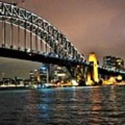 Sydney Harbor Bridge Night View Art Print