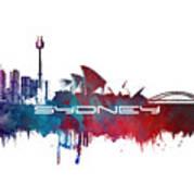 Sydney Skyline City Blue Art Print