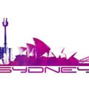 Sydney Skyline Purple Art Print