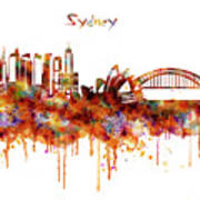 Sydney Watercolor Skyline Art Print