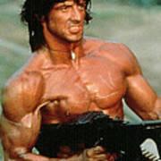 Sylvester Stallone And Browning Machine Gun Rambo 1985 Art Print