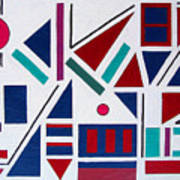 Symmetry in blue or red Art Print