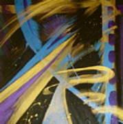 Blue Symphony On Black II Art Print