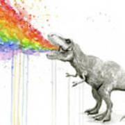T-rex Tastes The Rainbow Art Print