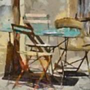 Table Bleue Au Soleil Art Print