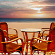 Table For Four At The Beach At Sunset Art Print