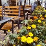 Tables And Chairs With Flowers Art Print
