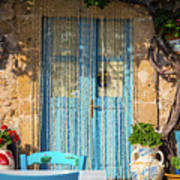 Tables In A Traditional Italian Restaurant In Sicily, Italy Art Print