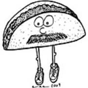 Taco Mustache Art Print