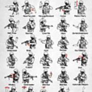 Tactical Hand Signals Art Print