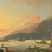 Tahitian War Galleys In Matavai Bay Art Print
