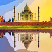 Taj Mahal At Sunrise Art Print